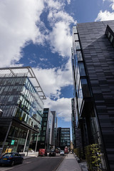 Quarter Mile Development-13 (Philip Gillespie) Tags: street city blue windows sky sun white reflection tower glass up skyline architecture clouds contrast work buildings outside photography scotland office spring edinburgh cityscape angle outdoor wide meadows april series block leading 2016 sequent