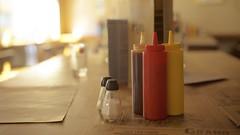 Mustard, ketchup & barbecue (Caropaulus) Tags: light stilllife blur vintage table pepper 50mm restaurant minolta bokeh salt rokkor