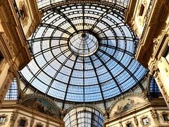 Milan, Galleria Vittorio Emanuele II (emilio59) Tags: blue light sun milan architecture soleil italia cityscape lumire milano bleu lombardia italie urbanlandscape architectura iphone lombardie