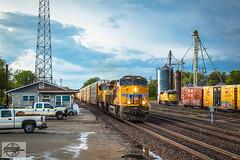 Southbound UP Auto Train at Trenton, MO (Nanner Hogger) Tags: cloud storm rain weather tornado meteorology stormchasing tornadic tornadowarning stormchaser severethunderstorm tornadoalley severethunderstormwarning tornadochasing stormspotter stormspotting