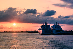 Ol' Man River (Marcy Leigh) Tags: sunset water clouds river boat louisiana ships mississippiriver goldenhour olmanriver 116picturesin2016