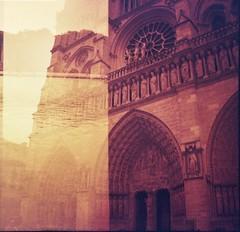 Notre Dame (Honey Bfly) Tags: paris france film 35mm vintage lomo lomography doubleexposure retro notredame pelicula analogue francia lomografia dobleexposicion analogico redscale dianamini