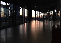North Greenwich Sunrise (Michael Adedokun) Tags: uk trees sunset reflection london station architecture sunrise buildings northerngreenwich