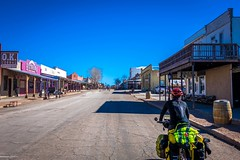 Cycling the streets of Tombstone, Arizona.