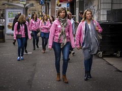 Pink Ladies (Leanne Boulton) Tags: life street city uk pink blue girls light shadow party people urban woman color colour detail texture girl face canon scotland living women colorful faces natural humanity outdoor expression glasgow candid culture streetphotography scene human shade 7d colourful society depth tone facial henparty candidstreetphotography