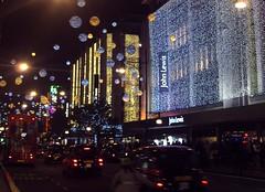 2015 Christmas lights Oxford St, London (Cybermyth13) Tags: christmas street xmas uk england urban snow london night shopping festive lights evening clusters christmaslights shops oxfordstreet westend baubles centrallondon londonist 2015