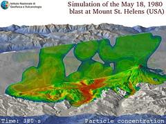 Simulazione numerica multifase del blast del 18 Maggio 1980 al Mount St Helens (USA) (ingv.pisa) Tags: mountsthelens rocce blast ceneri cristalli pomici simulazionenumericamultifase particellevulcaniche