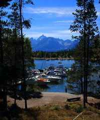 Grand Tetons from Jackson Lake Marina - Grand Tetons Natinal Park, Wyoming (danjdavis) Tags: lake mountains marina boats nationalpark rockymountains wyoming grandtetons grandtetonnationalpark jacksonlake