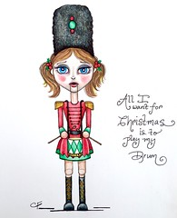 Nutcracker Girl (Enchanted Fields) Tags: christmas winter holiday pencil sketch drum drawing originalart surrealism nutcracker prismacolor enchanted linedrawing whimsical coloredpencil inkart drummergirl