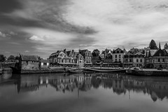 Mirrored Harbour (Aymeric Gouin) Tags: voyage city travel light blackandwhite bw white black france reflection water monochrome architecture port mirror harbor brittany eau noiretblanc harbour lumière bretagne olympus breizh reflet miroir morbihan ville omd auray em10 saintgoustan aymgo aymericgouin