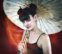 Konichiwa (Spoken in Red) Tags: asian parasol chopsticks blackhair camisole ricepaper paleskin bareshoulders fashionportrait womanportrait redbackdrop fineartportrait asianstyled bowtielips spokeninred