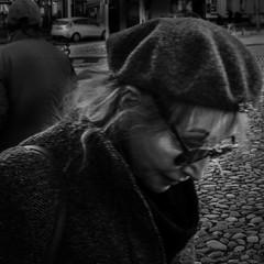 Once More Round #033 (ammgramm) Tags: bw woman white black glasses blackwhite naturallight beret fujifilmx100s