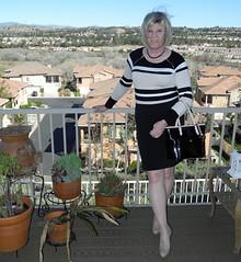 Black skirt, tan/blk/wht top (krislagreen) Tags: white cd tan skirt hose tgirl transgender transvestite crossdress tg feminization blk feminized knittop patentpumps