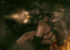 Miranda~Gunfire.... (Skip Staheli (Clientlist closed)) Tags: vintage soldier fire war gun action avatar sl digitalpainting secondlife motor gunfire virtualworld skipstaheli mirandabrinner