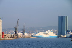 Marseille, port maritime et tour CGM (Jeanne Menj) Tags: port marseille tour maritime cgm grues