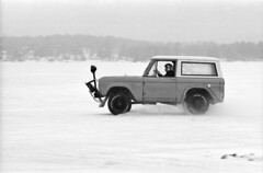 Ford Bronco (F. Neil S.) Tags: winter blackandwhite lake film ice 35mm frozen racing negative 1976