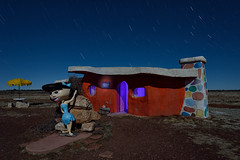 betty rubble. bedrock city, az. 2015. (eyetwist) Tags: park longexposure arizona house lightpainting west yellow night vintage dark amusement nikon long exposure wilma desert dino grandcanyon cartoon valle kitsch pebbles betty retro fullmoon american fred theme amusementpark americana moonlight nikkor exploration roadsideamerica barney cartoons gels nocturne arid themepark flintstones sonorandesert rubble bedrock flintstone urbex bettyrubble fredflintstone yabbadabbadoo bedrockcity eyetwist npy 1024mm bammbamm barneyshouse d7000 eyetwistkevinballuff 1024mmf3545g americantypologies
