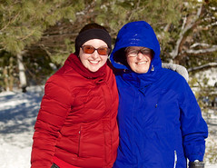 Mother and Daughter (leelanau2010) Tags: blue winter red usa white snow kids mi fun parents lucy crazy sister christopher bumpy sledding northwoods
