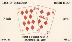 Jack of Diamonds & Queen Flush - Rockford, Illinois (73sand88s by Cardboard America) Tags: vintage illinois qsl cb rockford playingcard cbradio qslcard