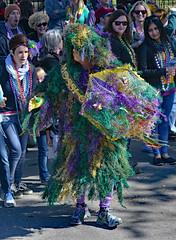 Purple Green & Gold Mossi Man (BKHagar *Kim*) Tags: people green gold beads moss colorful purple neworleans crowd parade nola mardigras kreweoftucks bkhagar mossigrasman mardigrassaturday