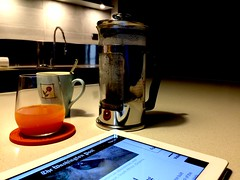 08:00 a.m. (Photo/Graphic) Tags: orange kitchen coffee breakfast french juice mug press bialetti