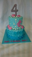 2 Tier Mermaid Cake (tasteoflovebakery) Tags: pink blue 2 cake 4 mermaid tier