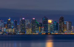April's Full Moon in Downtown San Diego (without reservation) Tags: california city reflection downtown cityscape sandiego fullmoon harborisland sonya7r