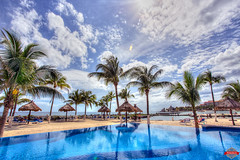 Mexico Is Awesome (Rob Moses) Tags: ocean sky reflection beach pool beautiful beauty clouds landscape mexico photography photo sand pretty awesome playadelcarmen wideangle resort palmtrees cancun canon5d 1740mm 1740l