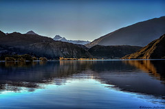 A Little Slice of Heaven (Kevin_Jeffries) Tags: travel bridge blue autumn light newzealand mountain lake holiday snow reflection tree water architecture landscape interesting nikon scenery flickr heaven paradise outdoor dusk hill scenic clear hour april wanaka d90 glendhubay nikond90 kevinjeffries