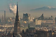 City life (Fotos4RR) Tags: city mountain industry church berg linz austria sterreich dom kirche churchtower stadt industrie obersterreich stahlwerk kirchturm upperaustria voest neuerdom