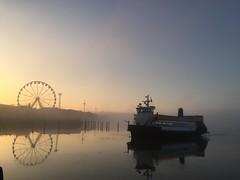Ferry arrives (kirstima) Tags: morning sea mist wheel ferry sunrise helsinki ferris suomenlinna kauppatori