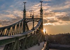 Sunset in Liberty bridge (Vagelis Pikoulas) Tags: city winter sunset sky cloud sun clouds canon river europe hungary view cloudy budapest january tokina 6d 2016 1628mm
