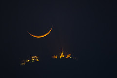 Moonset (Fevzi DINTAS) Tags: travel sky moon tourism nature night thailand temple pagoda amazing asia space places moonlight astronomy moment universe moonset nationalgeographic destinations paza140