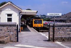 Looe Trains (DH73.) Tags: me lens 50mm branch pentax rail super class british 100 pentacon fujichrome 117 looe liskeard dmu