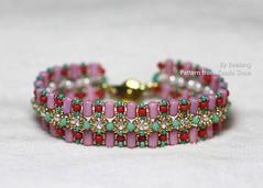 Couplet Bracelet (BeeJang - Piratchada) Tags: pink red white green gold golden czech crystal handmade turquoise jewelry bracelet pearl miyuki beading beaded beadwork beadweaving rulla
