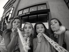 Celebration (AngelBeil) Tags: girls party blackandwhite clowns celebrating gopro