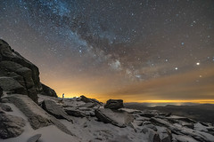 'Standing Between Giants' - Glyder Fach, Snowdonia (Kristofer Williams) Tags: sky mountain snow ice wales night stars landscape rocks nightscape boulders astrophotography summit snowdonia milkyway glyderfach wildcamping