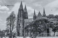 St. Philomena's Church (abhishek.verma55) Tags: blackandwhite bw india building church monochrome beautiful architecture clouds buildings photography flickr manmade neogothic tamron mysore stphilomenaschurch famousbuilding stphilomena tamron2470 famousmonuments canon550d