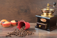 Retro coffee grinder, coffee mill coffee cup, chocolate cupcake, muffins, coffee beans. Still, restaurant, coffee shop. Wood background (sevda.stancheva) Tags: wood blue red food holiday macro mill cup coffee cake shop closeup table dessert star restaurant muffins cafe beans still colorful baker sweet chocolate cinnamon background space retro sugar gourmet delicious cupcake muffin coffe grinder variation unhealthy baked decorated anise fattening