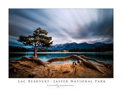 Lac Beauvert Jasper National Park (seanajsimmons) Tags: longexposure travel camping vacation sky mountain lake canada tree water beautiful clouds forest poster long exposure jasper outdoor surreal alberta nd rockymountains serene jpl jasperparklodge mountainlakes photoborder 10stopfilter
