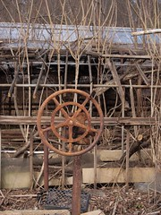 The Hand that Rocks the Cradle (photography_isn't_terrorism) Tags: abandoned wheel rust neglected greenhouse dismantling crank deconstructing