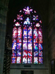 Gothic stained glass window, St Vitus Cathedral, Prague Castle (stephengg) Tags: castle window glass saint st republic czech prague cathedral gothic praha stained vitus