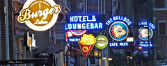 The Bulldog (albyn.davis) Tags: travel blue vacation signs netherlands colors amsterdam night lights bars colorful neon bright vibrant vivid bulldog signage nightlife coffeshop