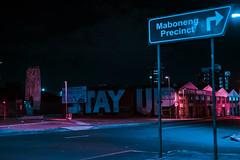 Johannesburg (elsableda) Tags: road city light urban colors night dark southafrica darkness haunting dreamy johannesburg joburg maboneng