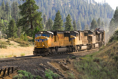 SD70M's at Boca Dam (SantaFe5811) Tags: california trip travel vacation usa holiday photography nevada laketahoe springs unionpacific soda truckee donnerpass verdi truckeeriver sd70m sd70ace ac4400cw glenshire floriston canon7d usa2014v3