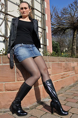 Selina 23 (The Booted Cat) Tags: sexy girl leather high model highheels boots tights jeans jacket heels miniskirt nylon demin girlshighheeledboots