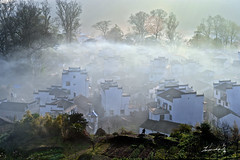 Sunrise on Stone City/WuYuan/China  / (Jennifer ) Tags: china flowers sunset tree kitchen fog architecture clouds sunrise countryside boat fishing scenery shadows village smoke scene  tradition   rapeseed anhui           terracedfield