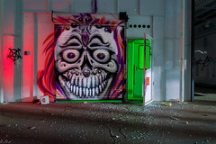Skull face (PhotographerJamesOrtiz) Tags: california county ca light urban abandoned painting skull graffiti nikon riverside exploring graf sigma abandon empire ie exploration inland gels uec urbex lightpaint d3200 18250mm fkimagery