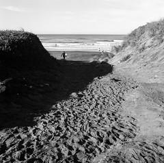 Surfer Dude (Mel Enc) Tags: sanfrancisco california bw 6x6 mamiya tlr film analog mediumformat square iso100 daylight blackwhite gray 120film 55mm oceanbeach fujifilm neopan midday sunnyday acros c330f