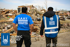 IRUSA disaster response team members look the devastation that was caused by the tornado in Texas.